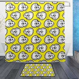 ISAOA Badezimmerteppich mit Totenkopf-Motiv, Rutschfest, für den Innenbereich, 60 x 40 cm, wasserdicht, 183 x 183 cm, waschbarer Duschvorhang mit 12 Haken - 1