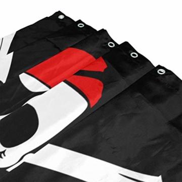ISAOA Duschvorhang mit Digitaldruck, wasserdicht, schimmelresistent, mit 12 Haken, Größe 180-182,9 cm, Totenkopf mit roten Kappen, Dekoration für Badezimmer - 3
