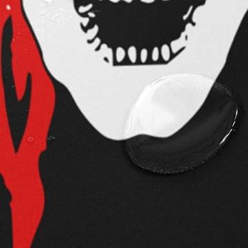ISAOA Duschvorhang mit Digitaldruck, wasserdicht, schimmelresistent, mit 12 Haken, Größe 180-182,9 cm, Totenkopf mit roten Kappen, Dekoration für Badezimmer - 4