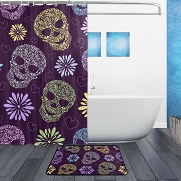 ISAOA Rutschfeste Badezimmermatte mit abstrakten Totenköpfen, 60 x 40 cm, wasserdicht, 183 x 183 cm, waschbarer Duschvorhang mit 12 Haken - 2