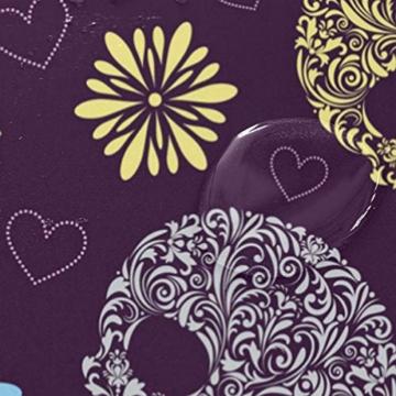 ISAOA Rutschfeste Badezimmermatte mit abstrakten Totenköpfen, 60 x 40 cm, wasserdicht, 183 x 183 cm, waschbarer Duschvorhang mit 12 Haken - 4
