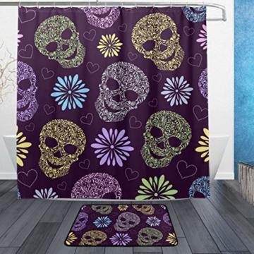 ISAOA Rutschfeste Badezimmermatte mit abstrakten Totenköpfen, 60 x 40 cm, wasserdicht, 183 x 183 cm, waschbarer Duschvorhang mit 12 Haken - 1