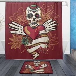 ISAOA Rutschfeste Badezimmermatte mit Totenkopf-Herzen und Blumen, 60 x 40 cm, wasserdicht, 183 x 183 cm, waschbarer Duschvorhang mit 12 Haken - 1