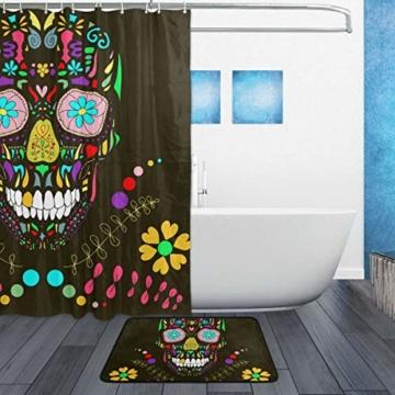 ISAOA Rutschfeste Badezimmermatte mit Totenkopf-Motiv, für den Innenbereich, 60 x 40 cm, wasserdicht, 183 x 183 cm, waschbarer Duschvorhang mit 12 Haken - 2